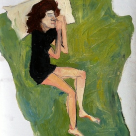 Woman on green blanket